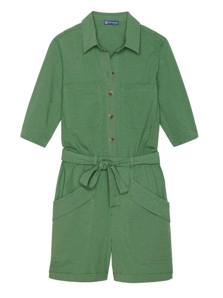 Elbow Sleeve Patch Pocket Stretch Woven Romper