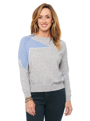 Light Blue Star Intarsia Shoulder Long Sleeve Lightweight Heather Grey Pullover Sweater