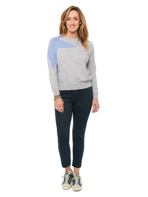 Star Intarsia Shoulder Long Sleeve Sweater