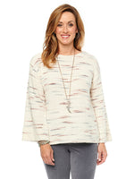 Long Sleeve Space Dye Ivory Multi Sweater