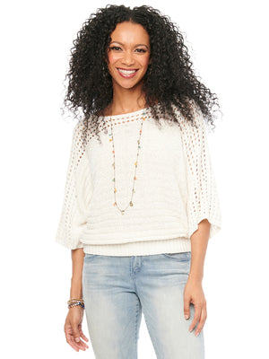 Open Stitch Kimono Sleeve and Shoulder Off White Womens Fashion Sweater