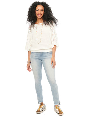 Open Stitch Kimono Sleeve and Shoulder Off White Sweater
