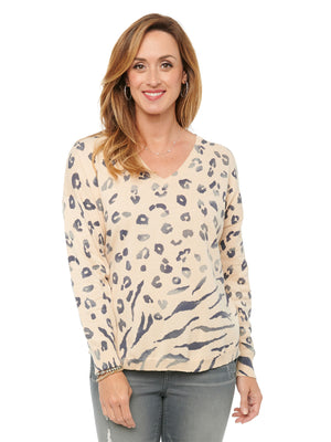 V Neck Shirttail Hem Ombre Zebra and Leopard Print Pullover Long Sleeve Sweater Honey Beige & Gray