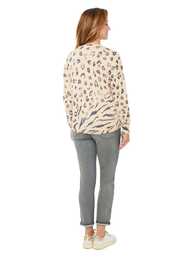 Load image into Gallery viewer, V Neck Shirttail Hem Ombre Animal Print Sweater