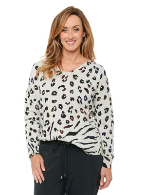 V Neck Shirttail Hem Ombre Animal Print Pullover Long Sleeve Sweater