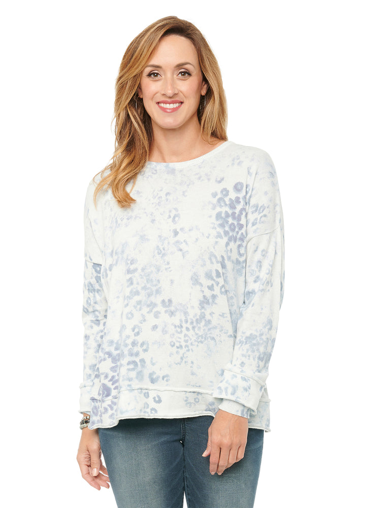 Long Sleeve Curled Edge Cuff Tie Dye Cotton Sweater