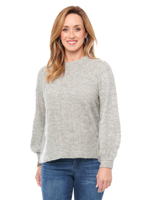 Long Sleeve Ruffle Mock Neck Heather Grey Sweater