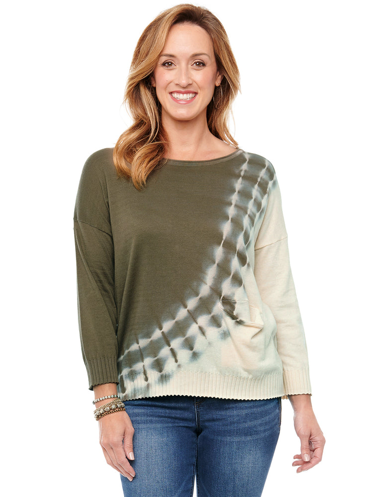 Load image into Gallery viewer, 3/4 Sleeve Diagonal Tie Dye Sweater