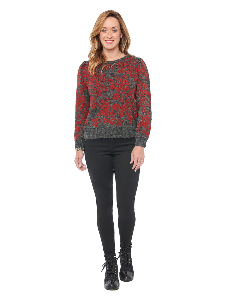Long Sleeve Floral Jacquard Round Neck Sweater