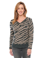 Double V Neck Zebra Animal Metallic Jacquard Sweater