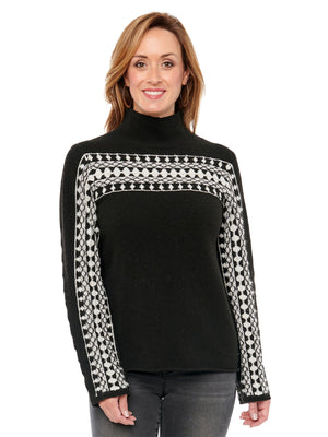 Long Sleeve Turtle Neck Metallic Jacquard Sweater Ivory & Black