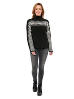 Long Sleeve Turtle Neck Metallic Jacquard Sweater