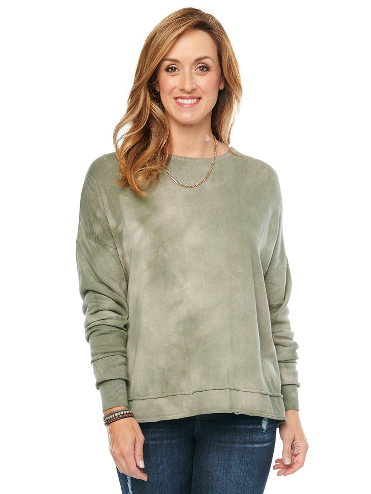Long Sleeve Tie Dyed Olive Sweater
