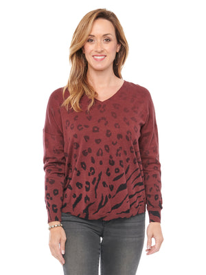 V Neck Ombre Animal Printed Deep Red Zinfandel Long Sleeve Sweater