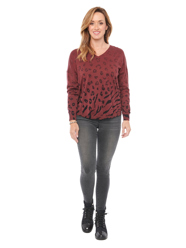 Load image into Gallery viewer, V Neck Ombre Animal Printed Zinfandel Sweater