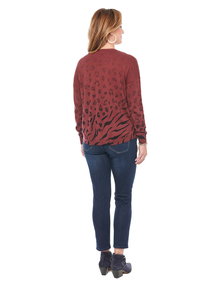 V Neck Ombre Animal Printed Zinfandel Sweater