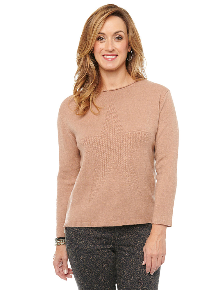Long Sleeve Star Stitched Cable Boat Neck Sweater