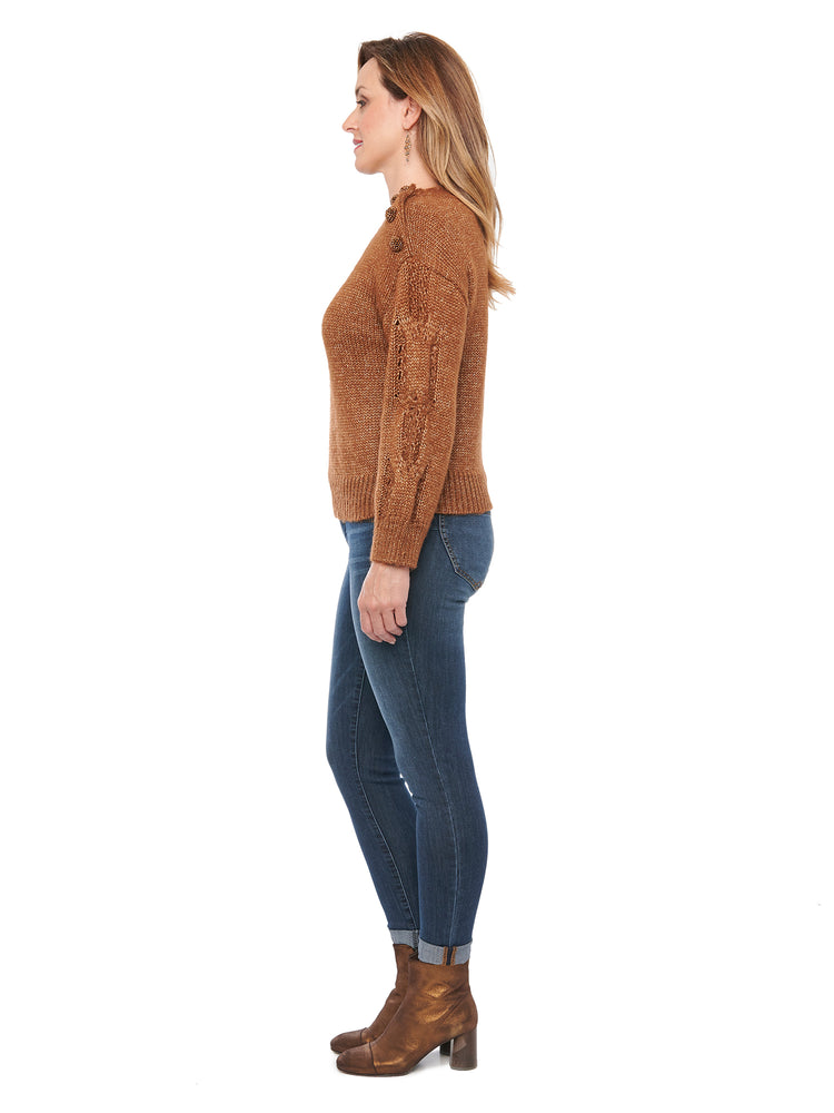 Long Sleeve Metallic Cable Knit Button Shoulder Sweater