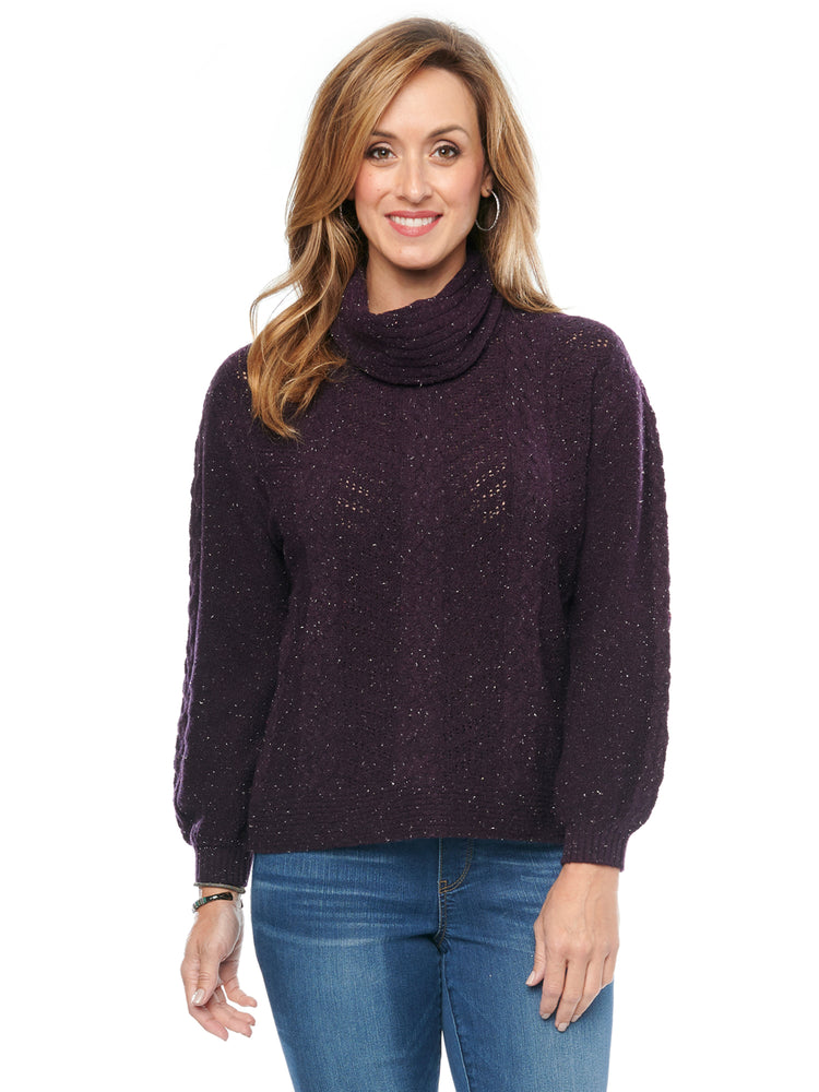 Detachable Turtleneck Cowl Neck Cable Stitch Yarn Soft Sweater Aubergine Purple