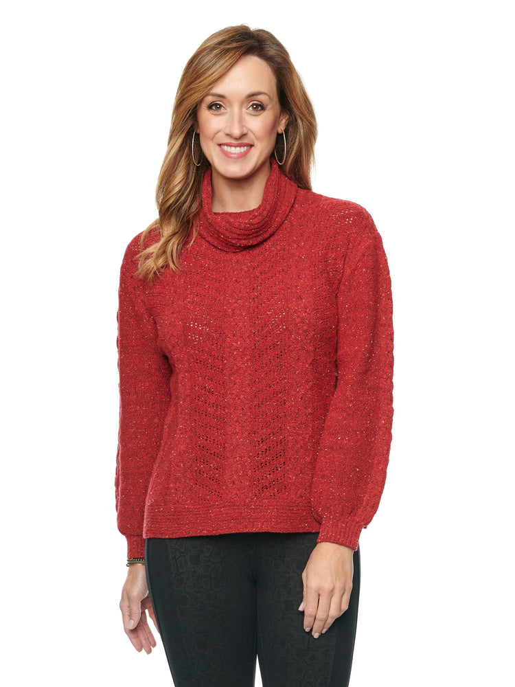 Detachable Turtleneck Cowl Neck Cable Stitch Yarn Soft Sweater Crimson Red