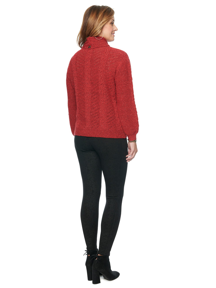 Detachable Turtleneck Cable Stitch Yarn Soft Sweater