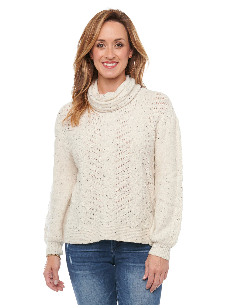 Detachable Turtleneck Cowl Neck Cable Stitch Yarn Soft Sweater Off White