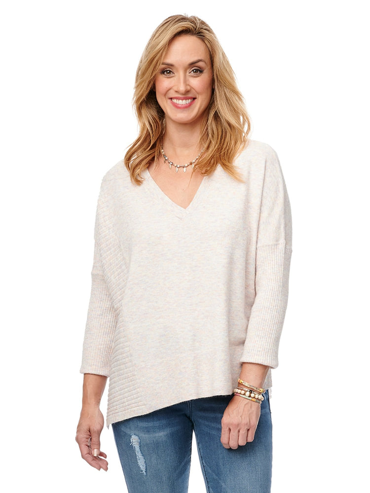 3/4 Sleeve Rib & Jersey V Neck Sweater