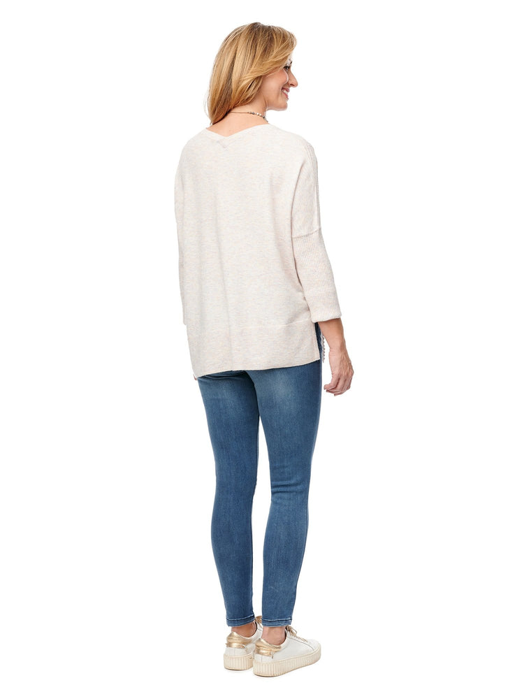 Load image into Gallery viewer, 3/4 Sleeve Rib & Jersey V Neck Sweater