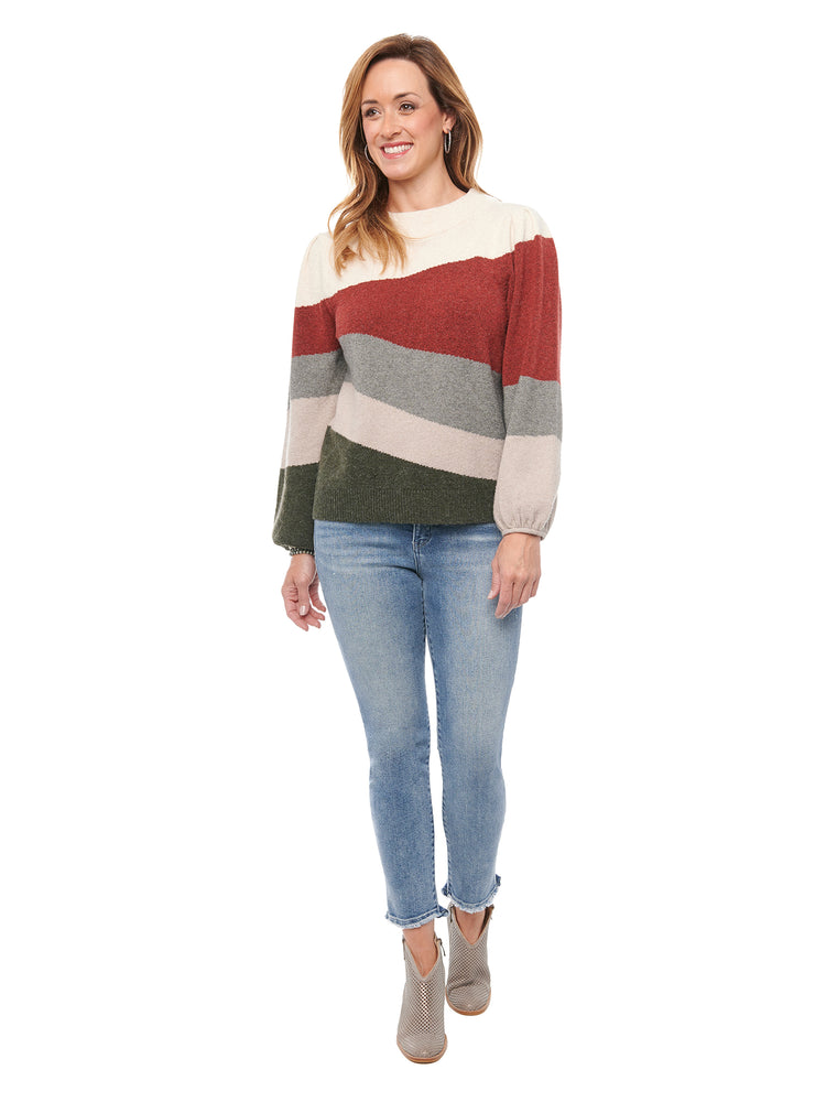 Load image into Gallery viewer, Blouson Sleeve Wavy Intarsia Stripe Sweater