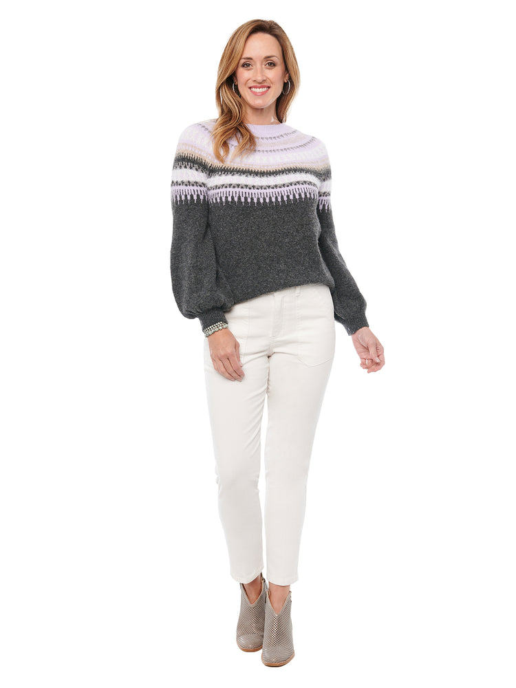 Long Sleeve Metallic Eyelash Fair Isle Sweater