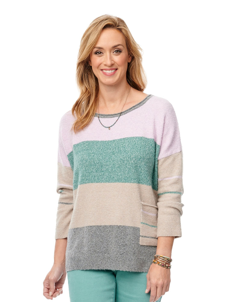 3/4 Sleeve Pocket Stripe Sweater