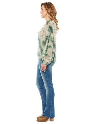 Long Sleeve Blouson Tie Dye Light Weight Sweater
