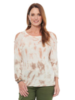 Cold Shoulder Tie-Dye Sweater