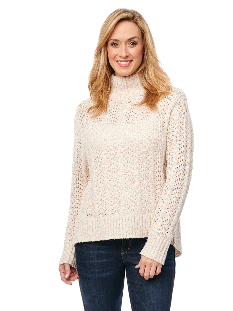 Soft Long Sleeve Lurex Pointelle Detail Mock Neck Sweater