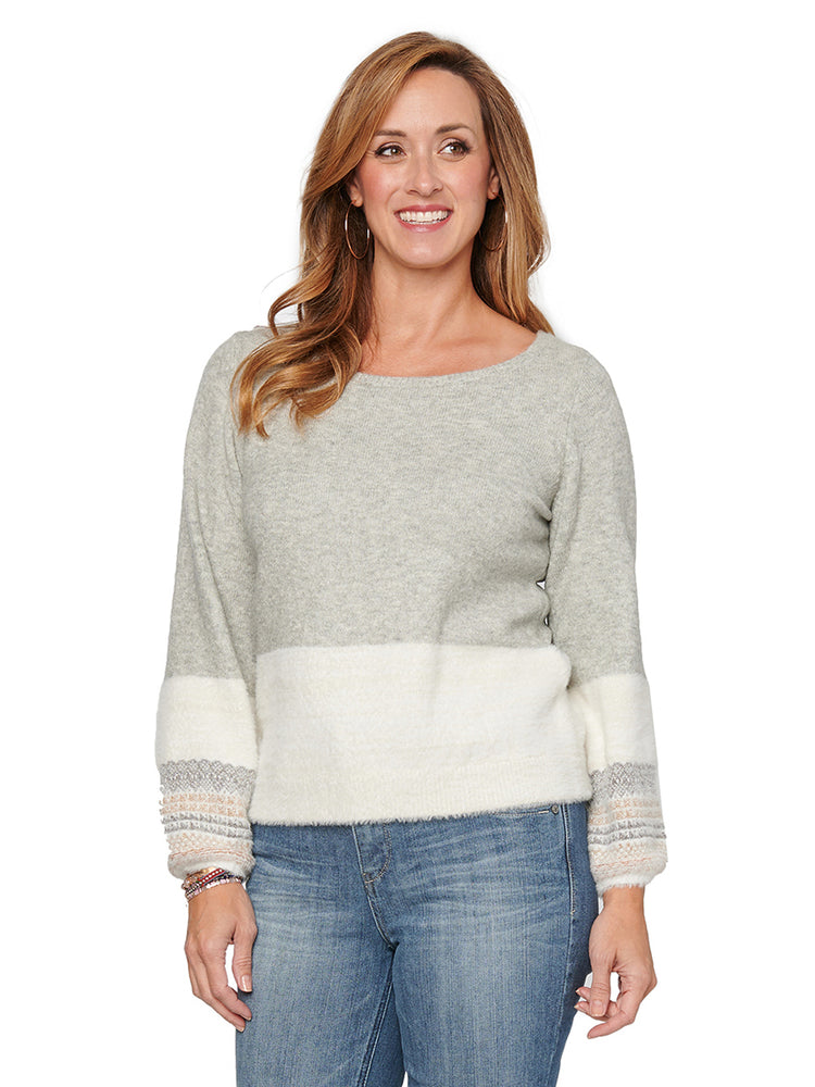 Load image into Gallery viewer, Long Sleeve Eyelash Metallic Ivory Stripe Gray Sweater