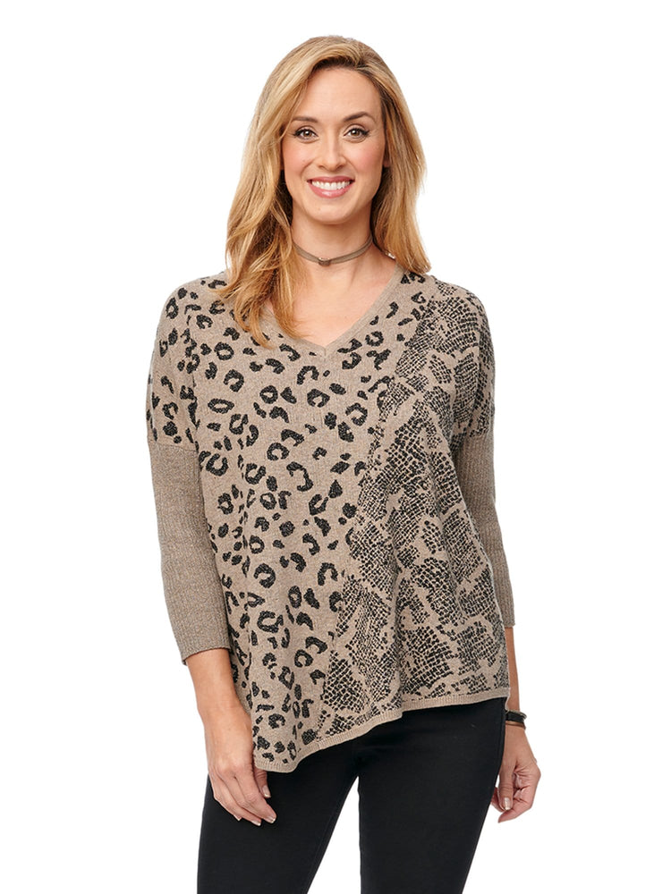 3/4 Sleeve Animal Lurex Jacquard Spliced Asymmetrical Hem Sweater