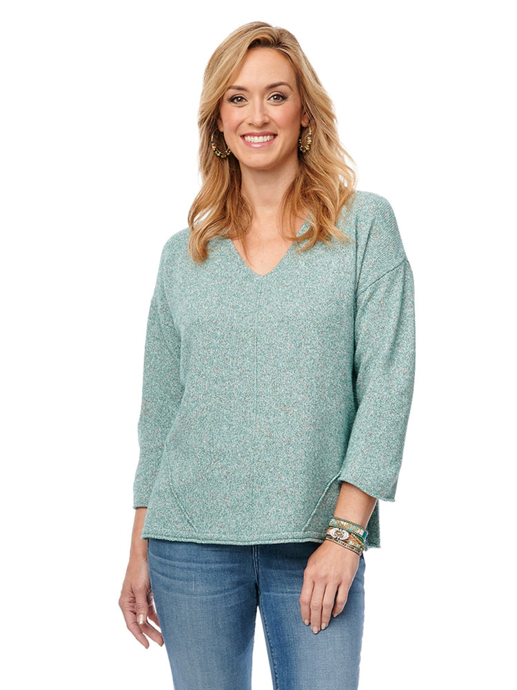 3/4 Sleeve V Neck, Cut-out Back Sweater