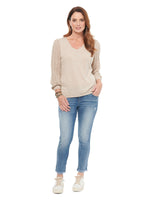 Pointelle Sleeve V Neck Sweater
