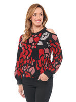 Long Sleeve One Cold Shoulder Rose Jacquard Sweater