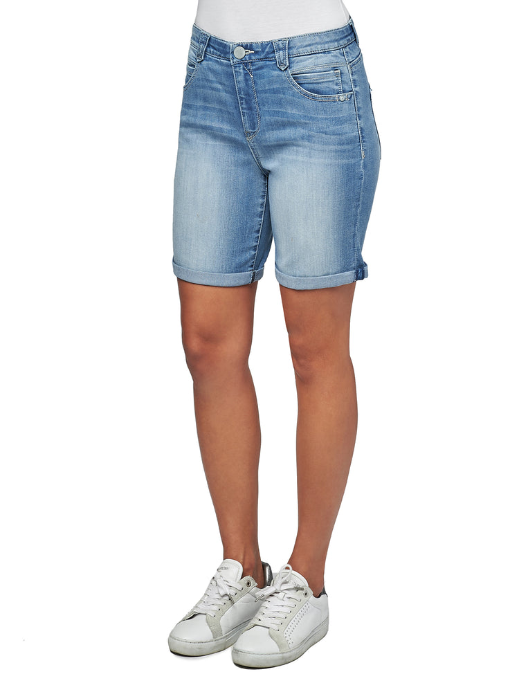 """Ab""solution High Rise Light Blue Denim 7"" Inseam Shorts"
