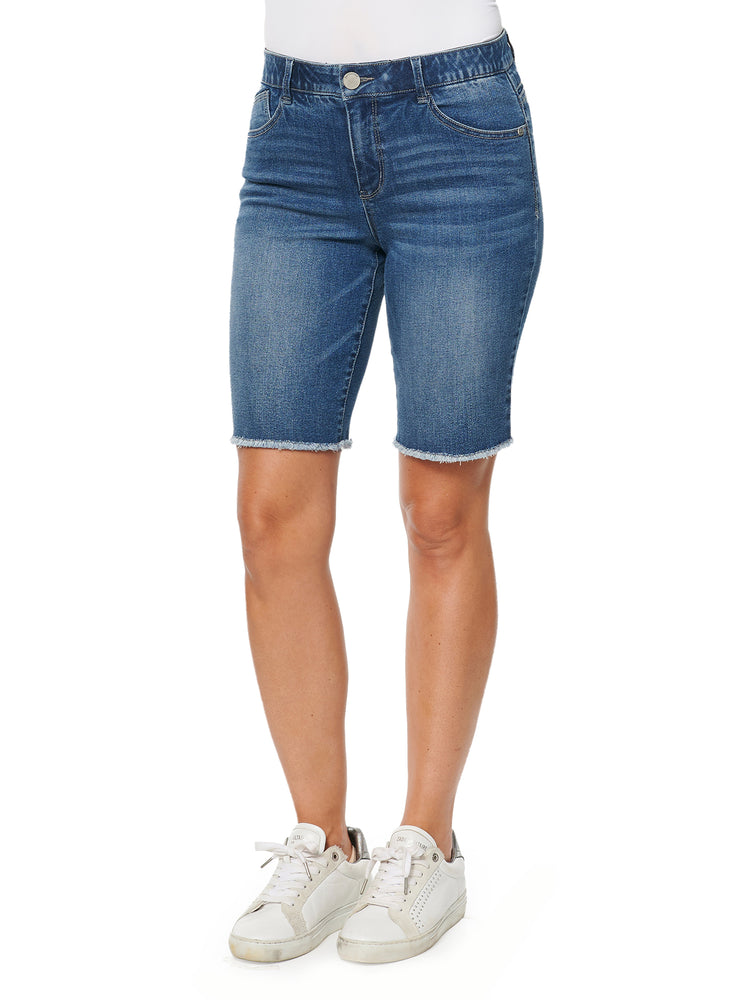 Absolution High Rise Blue Stretch Denim Retro Bermuda Long Fray Hem Shorts
