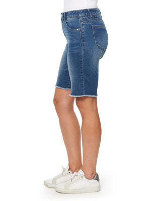 """Ab""solution High Rise Blue Denim Retro Bermuda Shorts"