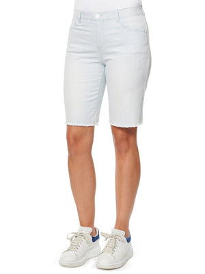 "Load image into Gallery viewer, ""Ab""solution High Rise Retro Stretch Light Blue Raw Hem Bermuda Shorts"