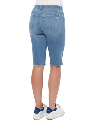 """Ab""solution Raw Hem Mid Blue Denim Bermuda Shorts"