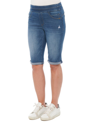 """Ab""solution Distressed Stretch Blue Denim Pull-on Glider Skimmer Bermuda Shorts"