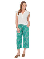 High Rise Palm Print Capri Pant