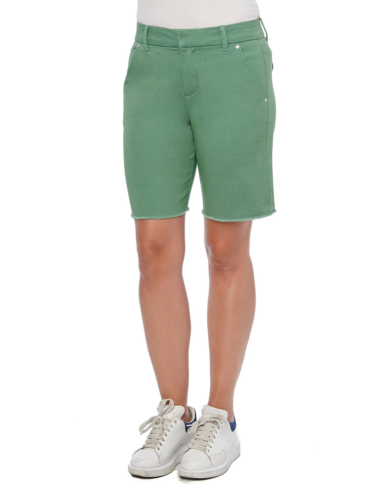 """Ab""solution High Rise Color Trouser Fray Hem Shorts"