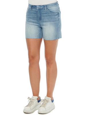 """Ab""solution High Rise Light Blue Vintage 4"" Inseam Raw Hem Denim Shorts"
