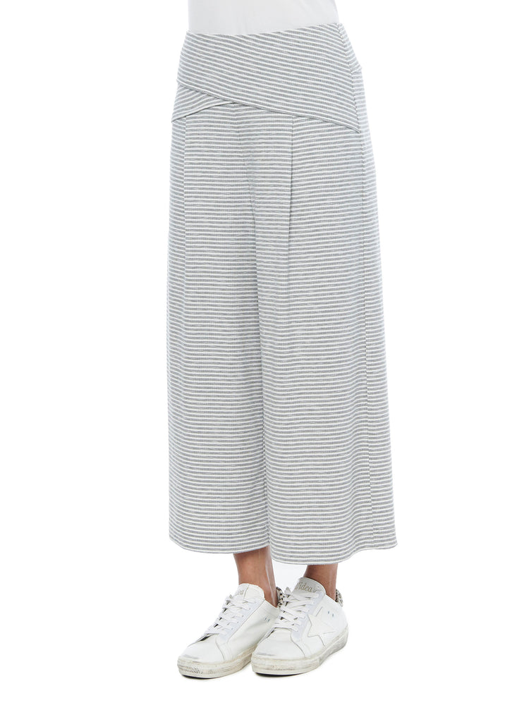 High Rise Micro Grey & Off White Stripe Cropped Gaucho Pants