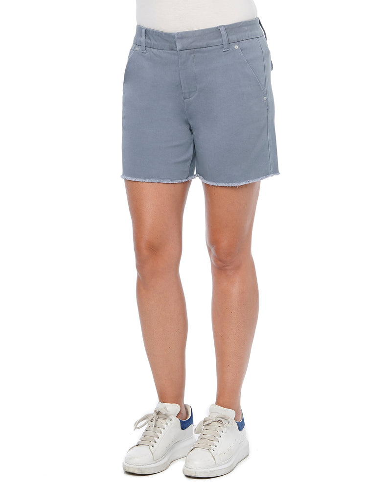 """Ab""solution High Rise Trouser Fray Hem Flint Blue Shorts"